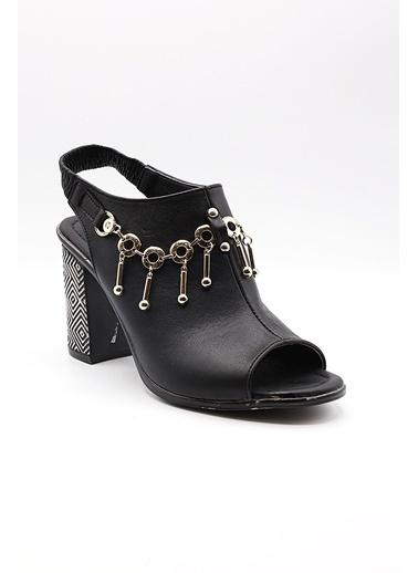 La scada Pıerre Cardın Pc-6304 Sıyah Kadın Topuklu Sandalet Siyah